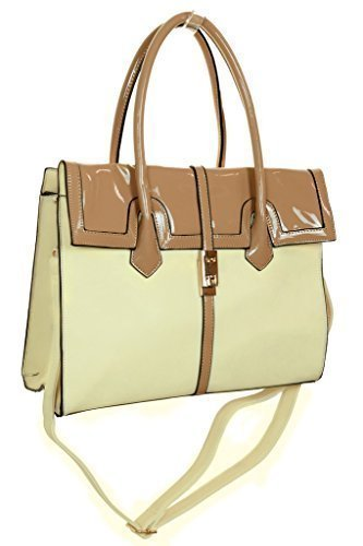 Patent Shopper - Ice (2527-2 Faux Leather Shopper Bag Patent Leather Contrast Effect Beige