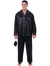 Mens Satin Pajamas, Long Button-Down Pj Set