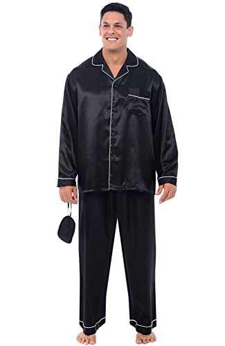 Alexander Del Rossa Men's Button Down Satin Pajama Set with Sleep Mask, Long Silky Pjs, 2XL Black with White Piping (A0752BKW2X) (Friends And Family White House Black Market)