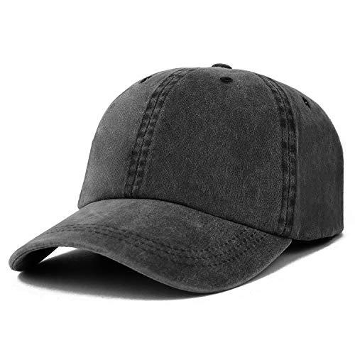 - Trendy Apparel Shop Oversize XXL Pigment Dyed Washed Cotton Baseball Cap - Black - 2XL