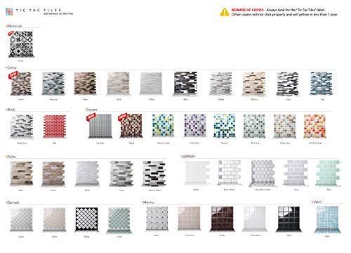 Tic Tac Tiles - Premium Anti Mold Peel and Stick Wall Tile Backsplash in Foglia Design (Grigio, 6) by Tic Tac Tiles (Image #7)