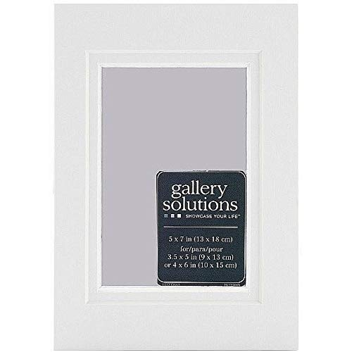 Gallery Solutions Custom Bevel Cut Double White Mat for 5x7 Picture Frame with 3.5x5 Opening