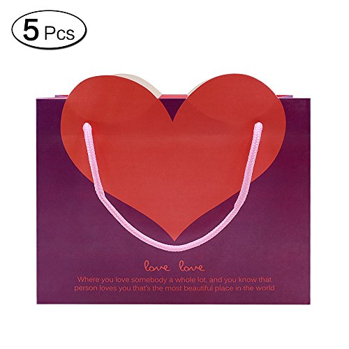 Jia Hu 5Pcs Sweet Heart Paper Gift Bags with Handles Storage Bag for Shopping Birthday Medium - Mall Shopping Times Square