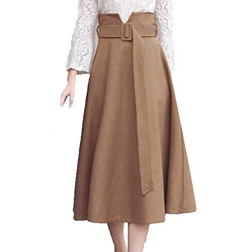 1316/5000 Femmes Taille Haute A-Line Fte Patineuse vase Jupe Longue Laine Plisse Jupe Brown