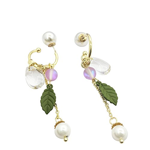 Plated Gold Hoop Earrings with Silver Needle Hand Made Pearl Hoop Earrings for ()