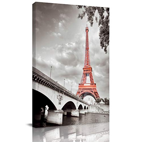 BABE MAPS Framed Art Paris Eiffel Tower Canvas Wall Art Modern Giclee Canvas Prints Paintings for Living Room Decor Ready to Hang 1 PCS, 12