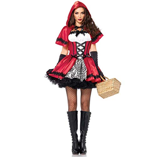 KLAWQ Large Size Europe and America Ladies Halloween Women Role Play Red Riding Hood Costume-M