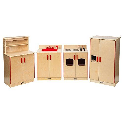 ECR4Kids Birch Pretend Play 4-Piece Kitchen Playset (Stove, Sink, Cupboard, Refrigerator) for Daycare, Natural - Natural Birch Kitchen Set