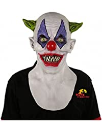 Evil Scary Halloween Clown Mask Rubber Latex Green Horned Clown Masken