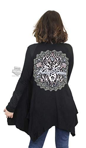 (Harley-Davidson Womens Itsy Bitsy Tribal Graphic Quilted Open Front Black Cardigan (1X/2X))