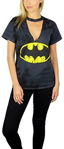 Batman Ladies T-shirt (Womens Batman Distressed Gigi Choker Neck Tee Charcoal Tie-Dye (Charcoal, X-Large))