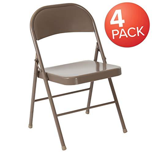 Flash Furniture 4 Pk. HERCULES Series Double Braced Beige Metal Folding Chair (Cheap Folding Chairs Metal)