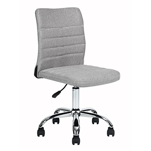HOMY CASA Home Office Chair Grey Fabric Upholstery Mid Back Ergonomic Computer Desk Chair,Height Adjustable,360 Degree Swivel ()