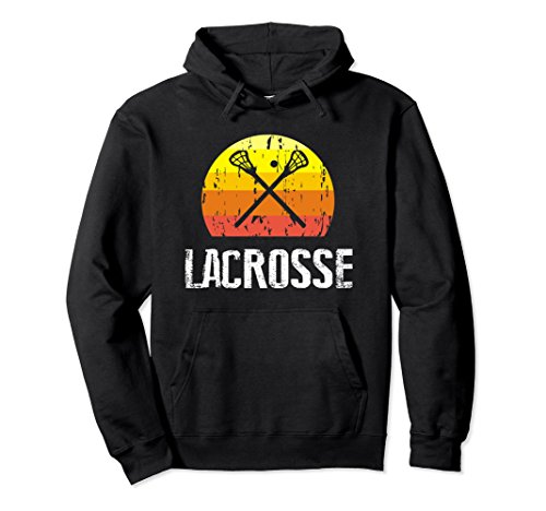Unisex Retro Style Lacrosse Silhouette Hoodie Gift For Girls ,Boys Large Black (Silhouette Mens Hoodie)