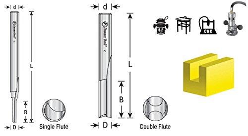 Amana Tool HSS1501 Plastic Cutting, Single Straight 'O' Flute 1/8 D x 5/8 CH x 1/4 SHK x 3-1/4 Inch Long High Speed Steel (HSS) Router Bit