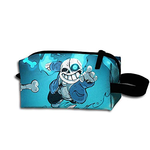 (MCWO GRAY Under-Tale S-ans Skeleton Cosmetic Bags Makeup Pouch Funky Pencil Case Makeup Brushes Bag with Zipper)