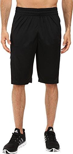 adidas Men's Basketball Team Speed Pregame Shorts, Black/Dark Solid Grey/White, X-Large