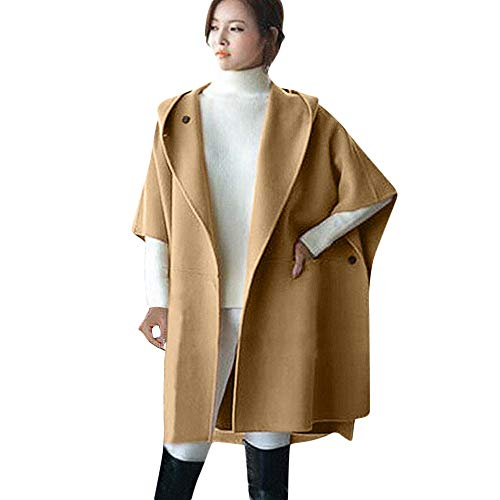 HHei_K Womens Fashion Solid Color Batwing Sleeve Button Hooded Cloak Jacket Wool Poncho Coat Hoodie Parka Outwear