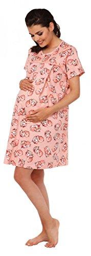 Zeta Ville Maternité Nuisette grossesse Chemise de nuit allaitement - femme 378c (Abricot, EU 42, XL)