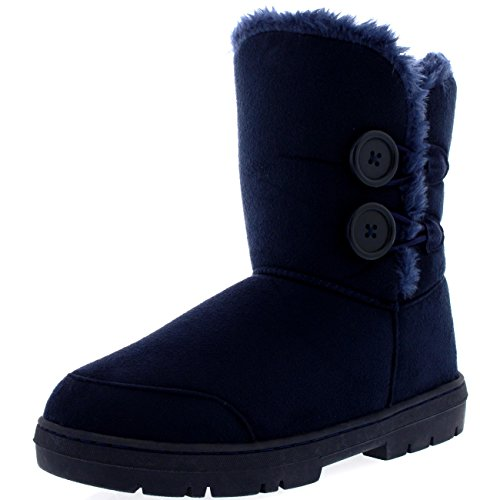 Womens Twin Button Fully Fur Lined Waterproof Winter Snow Boots ,7 B(M) US,Navy