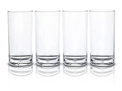 Modern Innovations 18 OZ SAN Acrylic Tumbler Highball Glass Set of 4 -- Restaurant Quality BPA Free, Break Resistant, Dishwasher Safe Acrylic Drinking Glasses
