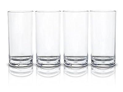 Modern Innovations 18 OZ SAN Acrylic Tumbler Highball Glass Set of 4 -- Restaurant Quality BPA Free, Break Resistant, Dishwasher Safe Acrylic Drinking Glasses