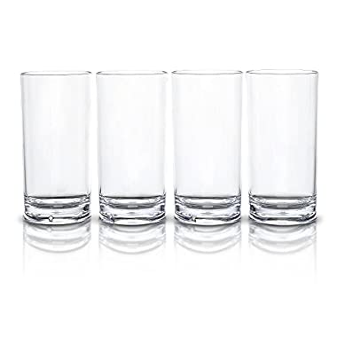 Modern Innovations 18 OZ SAN Tumbler Highball Glass Set of 4 -- Restaurant Quality BPA Free, Break Resistant, Dishwasher Safe Acrylic Drinking Glasses