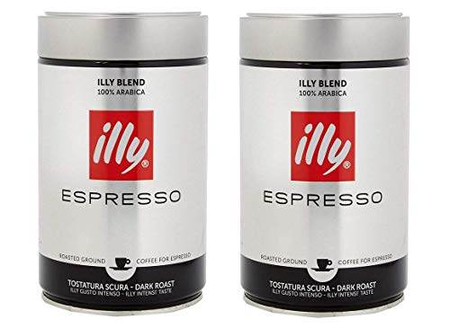 illy Ground Espresso Coffee Dark Roast, 100% Arabica Coffee Blend, 8.8oz Can(Pack of 2)