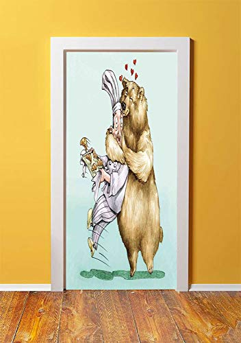 Cartoon 3D Door Sticker Wall Decals Mural Wallpaper,Big Bear Fully Hugs the Pastry Animal Love Humor Satire Romance Theme Artful,DIY Art Home Decor Poster Decoration 30.3x78.12714,Cream Blue Grey