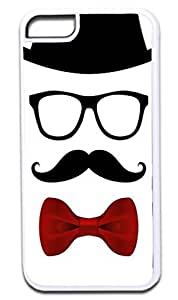 Black and White Hipster Face- Case for the APPLE IPHONE 6 PLUS ONLY!!! NOT COMPATIBLE WITH THE IPHONE 6!!!-Hard White Plastic Outer Case with Tough Black Rubber Lining by runtopwell