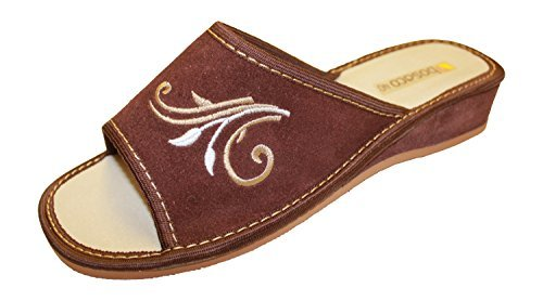 Bosaco Ladies Slippers Brown Luxury Leather Womens v1 Genuine Suede Comfort rr71Sqx