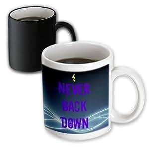Jacob Ariel inspirational quotes - Never back down, lightning, crazy font, light trail, blue, black - 11oz Magic Transforming Mug (mug_172852_3)