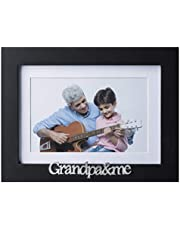 Klikel Grandpa and Me Picture Frame - Black Wood Frame with Silver Sentiments - Holds 1 4x6 Photo with Mat or 1 5x7 Photo Without Mat - Wall Mount and Table Desk Display