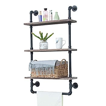 Image of Home and Kitchen Industrial Bathroom Shelves Wall Mounted 3 Tiered,Rustic 24in Pipe Shelving Wood Shelf With Towel Bar,Black Farmhouse Towel Rack,Metal Floating Shelves Towel Holder,Iron Distressed Shelf Over Toilet