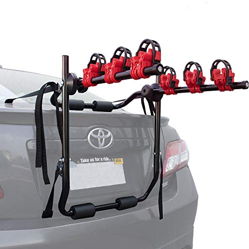 Toolman Universal Rear 3-Bike Carrier Rack 40kg Maximum Load Capacity Hitch Mount Double Foldable Rack for Cars, Trucks, SUV's and Mini Vans with a 2″ Hitch Receiver QTH041