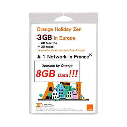 Orange Holiday Europe - 3GB Internet Data in 4G/LTE (currently 8GB promotion) + 30mn + 200 Texts from 30 Countries in Europe to Any Country Worldwide from Orange Micro
