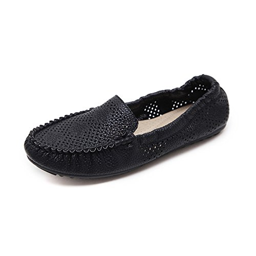 OCHENTA Womens Casual Soft Slip On Loafer Driving Boat Shoes Black