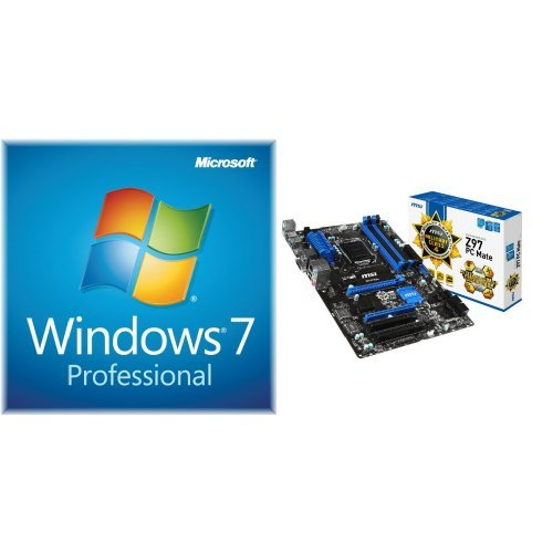 Board System 2400 - Windows 7 Professional SP1 64bit (OEM) System Builder DVD 1 Pack with MSI ATX DDR3 2400 LGA 1150 Motherboards Z97 PC MATE