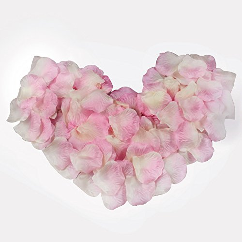 AerWo 500pcs Pink & White Silk Rose Petals Artificial Flower Wedding Party Decor Bridal Shower Favor Centerpieces Confetti