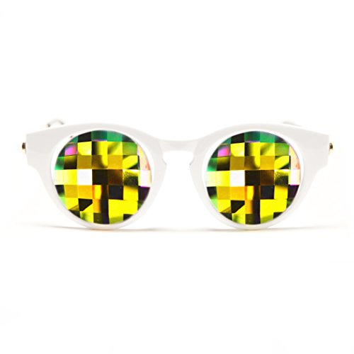 GloFX White Cat Eye Kaleidoscope Glasses - Rainbow Bug Eye