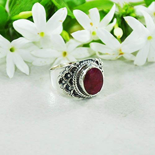 (Sivalya ROYALTY 1.45 Ctw Cushion Cut Raw Ruby Ring in 925 Sterling Silver - Size 8 - Solid Silver Ring with a Natural Red Ruby Gemstone- Makes a Great Gift for Women)