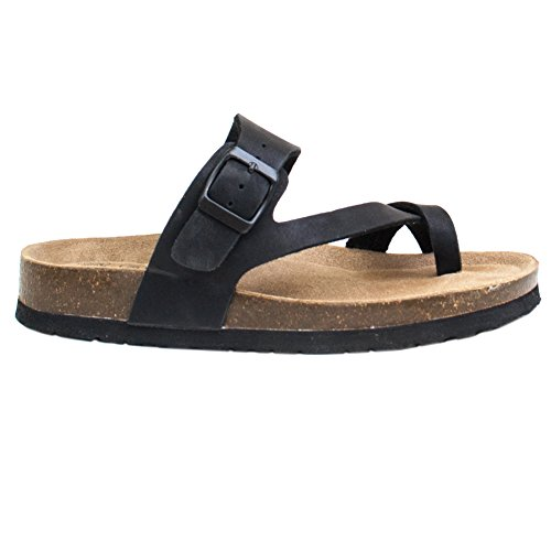 Trends SNJ Women's Thong Strap Genuine Leather Footbed Insole Flat Sandals(Sales - Coupon Us