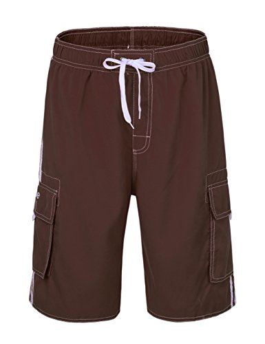 Nonwe Men's Summer Cargo Swim Trunk Board Shorts with Mesh Lining Bright Coffee - Bright Swim Trunks Mens