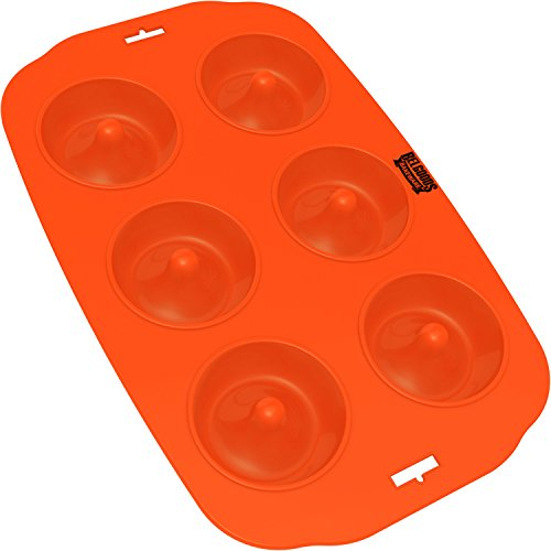 Silicone Donut Maker Baking Pan Tray - 6 Holes - Pure Food Grade Premium Non-Stick Silicon - Orange - Bake Like a (Moldes Para Halloween)