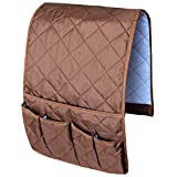 remote control caddy for chair - MDSTOP Sofa Couch Chair Armrest Organizer, Fits for Phone, Book, Magazines, TV Remote Control (Coffee)