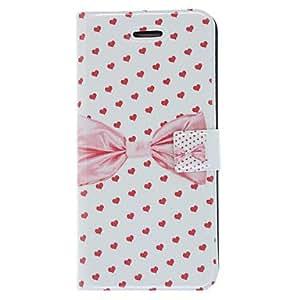 Fragante Bowknot El olfato y el Modelo de los corazones de caso completo de cuerpo con mate de la contraportada y el soporte para el iPhone 5/5S