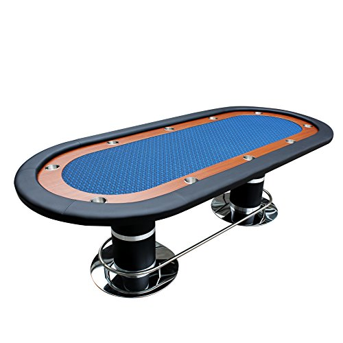 IDS Poker Knight #70 Plus Poker Table Oval 96″ x 43″ Racetrack Cup Holders Speed Cloth Stainless Pedestal Leg