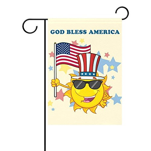 QQshiqI Double-Sided Cute Sun Cartoon God Bless America Patr