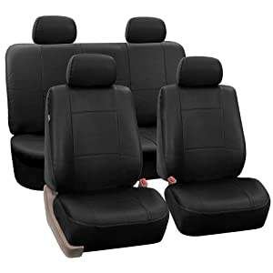 fh pu001 pu leather car seat covers solid black color automotive. Black Bedroom Furniture Sets. Home Design Ideas