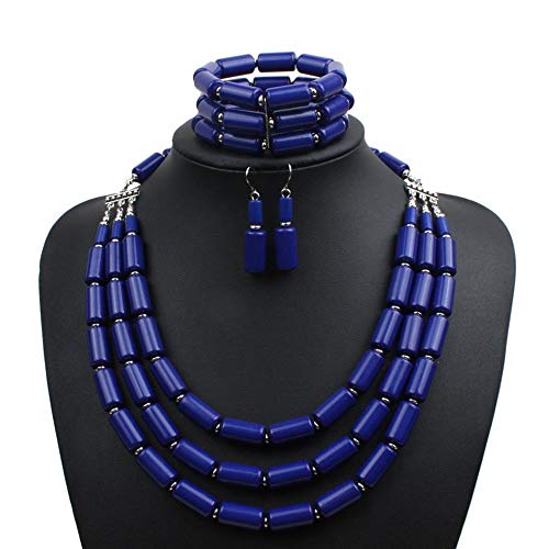 Earofcorn Beautiful Versatile Accessories Handmade Accessories Beaded Three-Piece Multi-Layer Necklace Set Temperament Section Clavicle Necklace for Women (Blue)